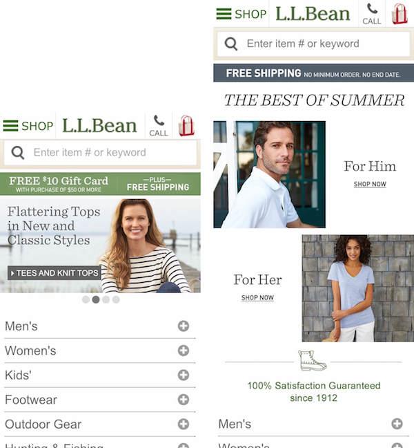 Две версии домашней страницы магазина L.L. Bean