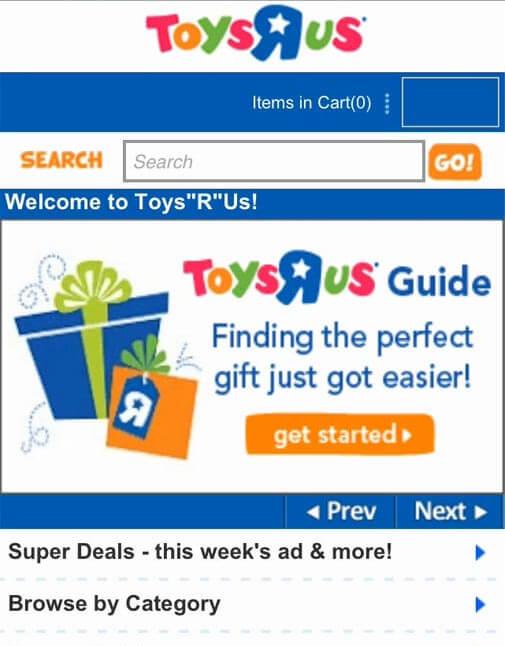 мобильная версия сайта Toys'R'Us