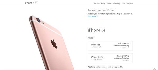 Целевая страница Apple для iPhone 6s