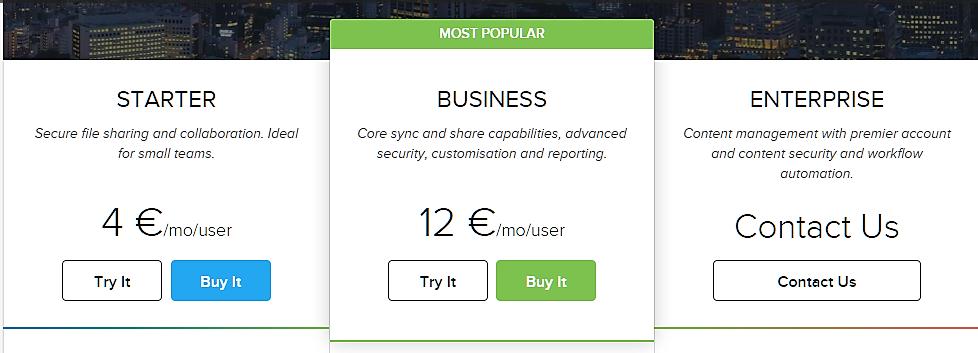 CTA-кнопка на сайте Dropbox