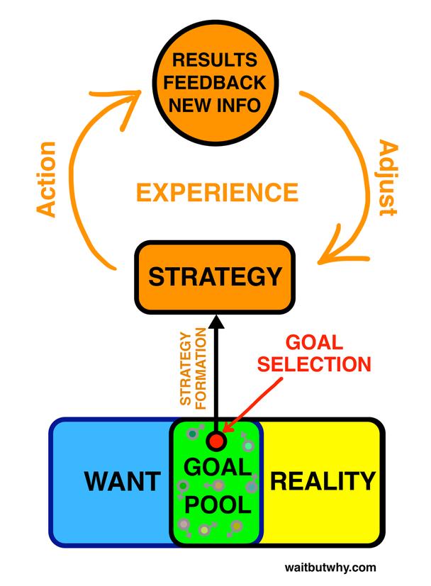 Стратегия — Действие — Результаты/Обратная связь/Новая информация — Корректировка стратегии — и далее по кругу.