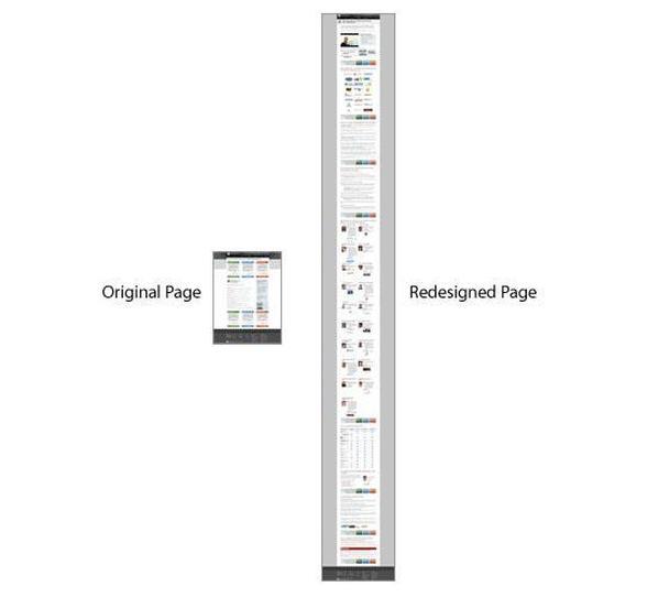 Слева — первоначальный вид лендинг пейдж. Справа — страница после редизайна
