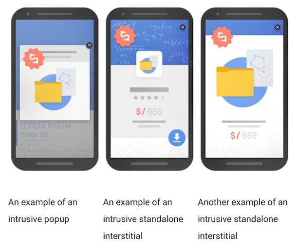 Слева направо: навязчивое pop-up окно, навязчивая автономная полноэкранная реклама (2 примера)