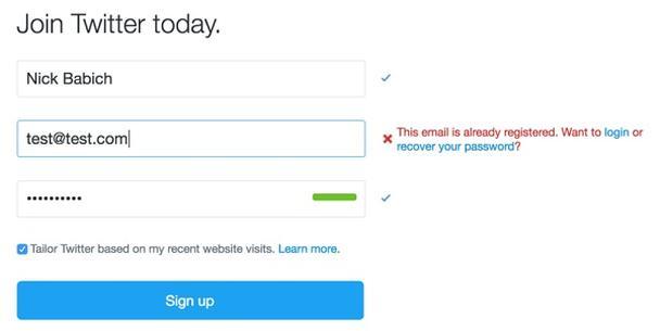 «Этот email уже зарегистрирован. Хотите войти или восстановить свой пароль?»