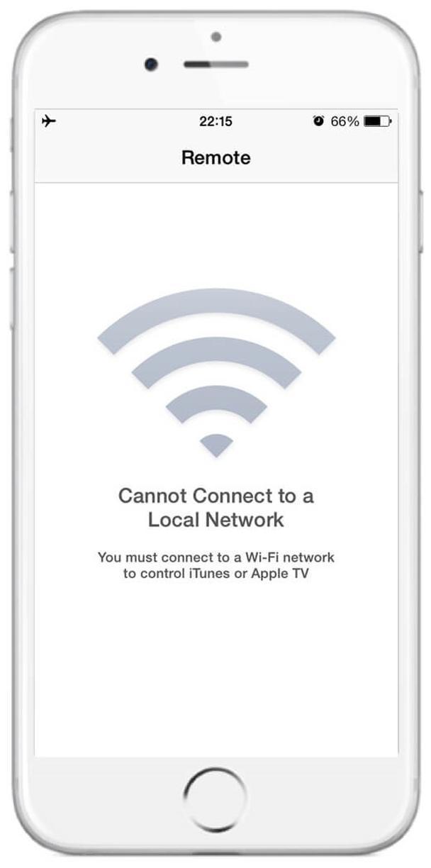 «Не удается подключиться к этой сети. Вы должны подключиться к Wi-Fi сети, чтобы управлять iTunes или Apple TV»