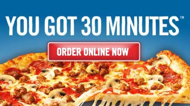 Domino's Pizza: «У вас есть 30 минут. Закажите пиццу онлайн прямо сейчас»