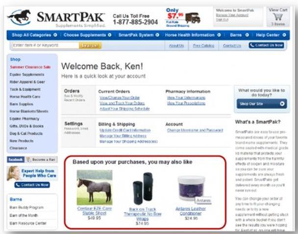 SmartPak Canine рекомендует товары, базируясь на истории покупок клиента