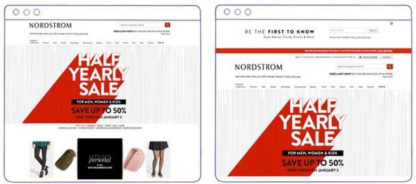скриншот персонализированной главной страницы интернет-магазина Nordstrom