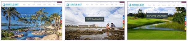 Слева направо: стандартная страница, страница для ищущих варианты медового месяца, страница для ищущих место отдыха с наличием большого поля для гольфа.
