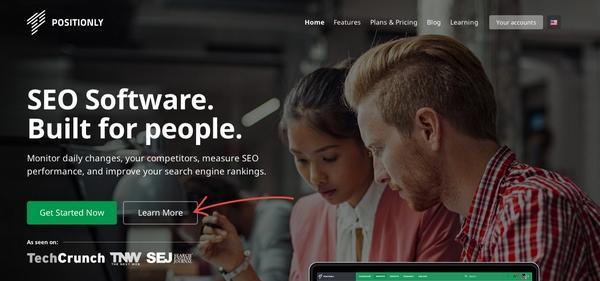 На целевую страницу была добавлена CTA-кнопка «Узнать больше» (Learn More)