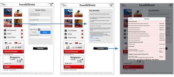 Чтобы прочитать информацию о правилах страхования на планшете, посетителям требуется поискать детали в разделе «Ключевые преимущества»