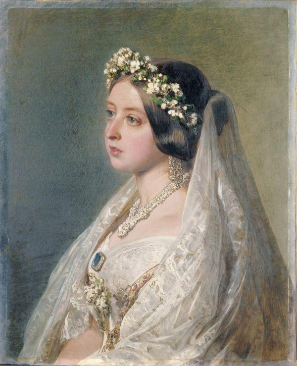 Портрет Королевы Виктории в свадебном платье