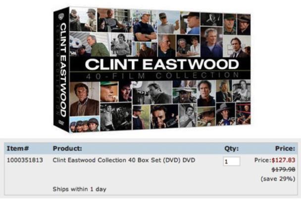 Пример максимайзера: продажа коллекции DVD из 40 фильмов с Клинтом Иствудом.