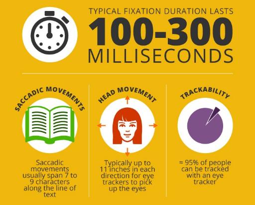 Средняя продолжительность фиксации глаза длится 100-300 миллисекунд