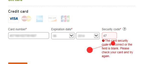 Сайт REI предупреждает, что код безопасности неверный — двузначный вместо трехзначного