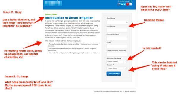 Посадочная страница с длинной лид-формой для посетителей группы TOFU и рекомендации по ее изменению с учетом пользовательского потока