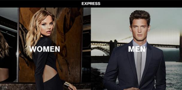 страница модного ретейлера Express