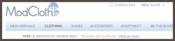 Домашняя страница интернет-бутика ModCloth