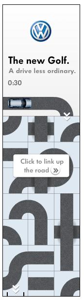 Невозможно удержаться от клика: на сайте нового автомобиля серии Golf предлагается проложить дорогу интерактивной машинке