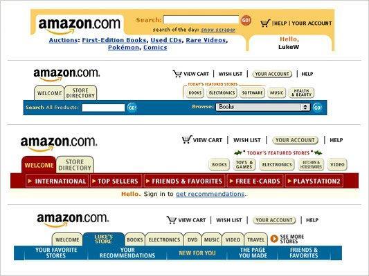 вкладочная навигация на сайте Amazon на ранних стадиях
