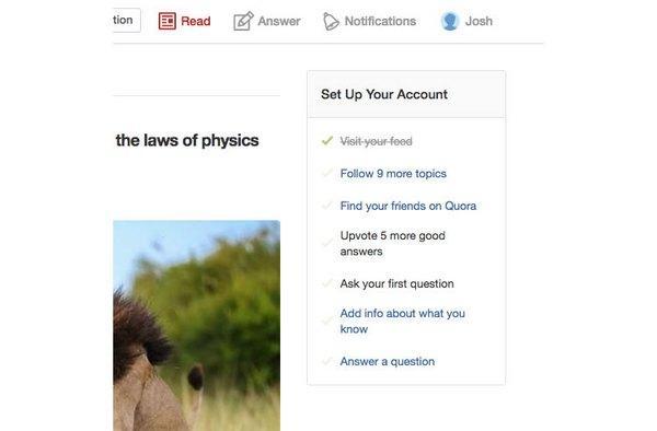 Пример чек-листа: «Настройте аккаунт: 1. Посетите свой канал. 2. Подпишитесь на 9 тем. 3. Найдите друзей...»