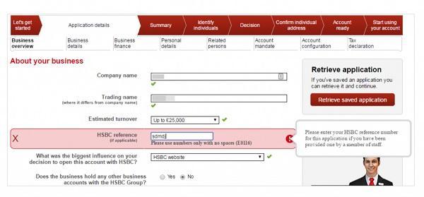 Сообщение об ошибке, возникшей при заполнении формы на сайте HSBC: «Пожалуйста, используйте только цифры без пробелов»