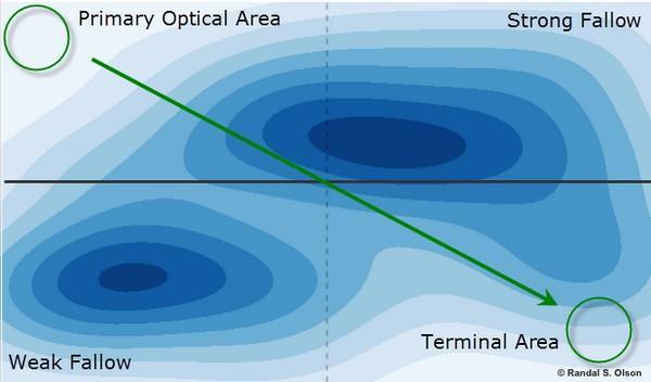 Левый верхний угол — начальная оптическая область, правый верхний угол — зона с высоким потенциалом привлечения внимания, левый нижний угол — зона минимального внимания, правый нижний угол — заключительная область