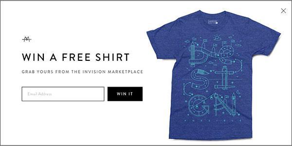 Всплывающая лид-форма с предложением ввести свой электронный адрес для участия в розыгрыше дизайнерской футболки
