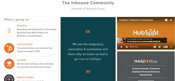 Страница сервиса Hubspot: справа — видеоролик, весьма органично встроенный в общую структуру страницы
