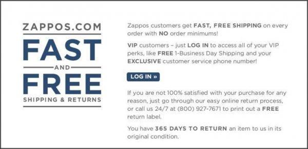 Клиентам Zappos — быстрая, бесплатная доставка каждого заказа, без минимальной суммы, а также возможность возврата.