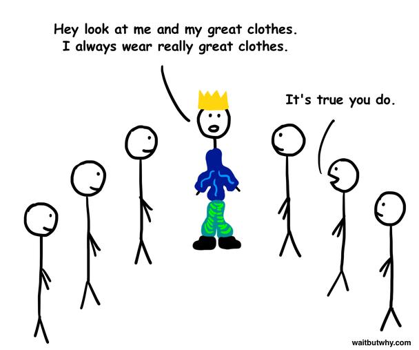 — Эй, посмотрите на меня и мои прекрасные одежды. Я всегда одет действительно клево.