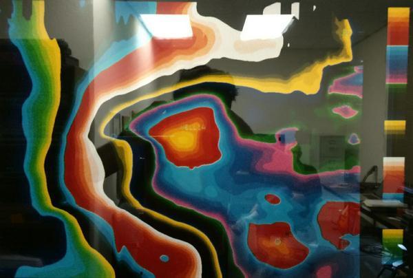 Карта геологических слоев, глубина расположения которых отмечена определенным цветом