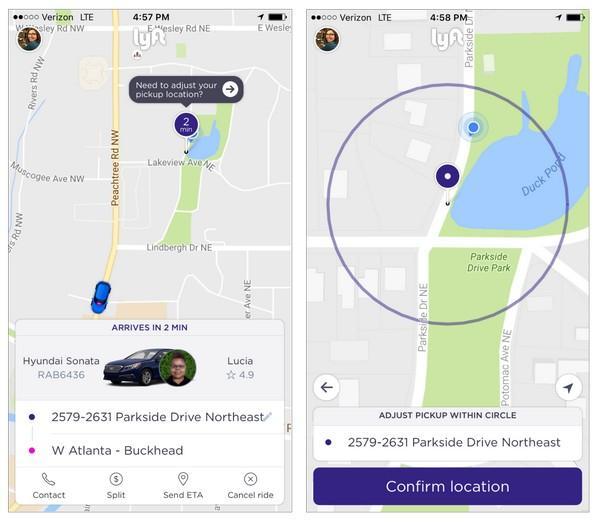 Lyft позволяет своим клиентам точно указывать место заказа машины