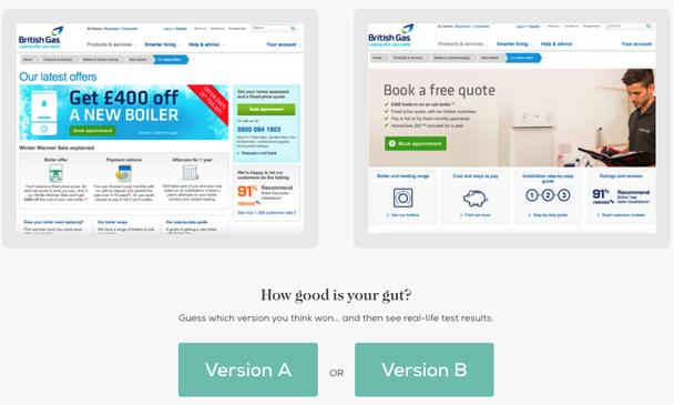 Пример теста двух вариантов страницы: минималистичного и «захламленного» от British Gas. Вторая версия повысила онлайн заказы на 50%.