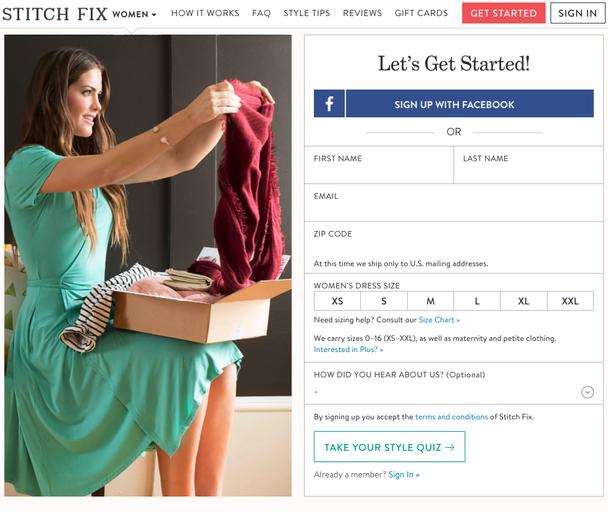 Пример от Stitch Fix: слева пользователи находят визуальное объяснение, а справа — информационное.