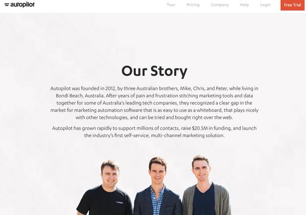 Страница «Наша история» — и фото основателей бизнеса.