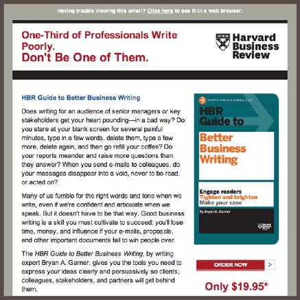 Harvard Business Review предлагает подписаться на рассылку руководства по копирайтингу продающих текстов.