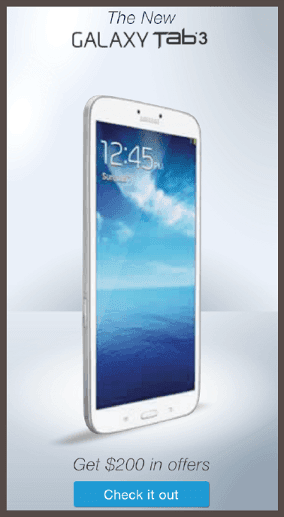 Slate и Samsung Galaxy Tab 3: «Получите $200 скидки на офферы»