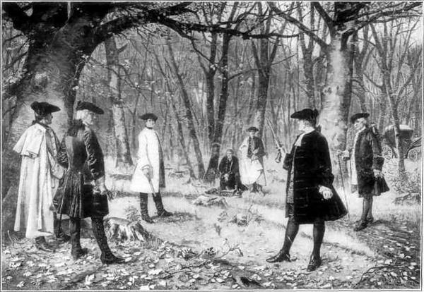 Александр Гамильтон был смертельно ранен Аароном Берром на дуэли 11 июля 1804 года и унес в могилу правду об авторстве «Записок Федералиста»