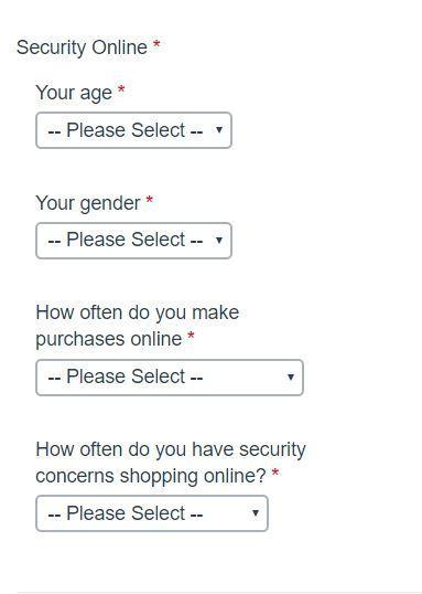 Поля: возраст, пол, частота онлайн-покупок, частота проблем с безопасностью во время онлайн-покупок.