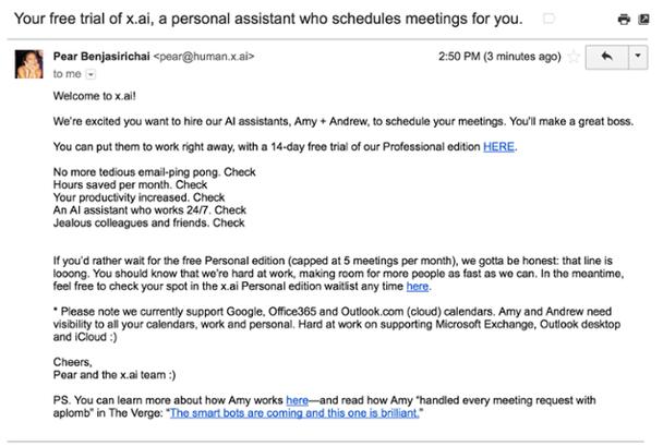 Надпись в теме письма: «Ваша бесплатная версия x.ai — персонального помощника, который спланирует ваши встречи».