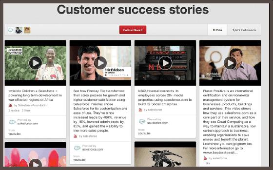 Salesforce выкладывает истории успехов клиентов в формате авторского видео, но на платформе третьей стороны (Pinterest)