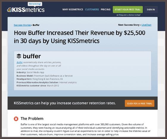Отзыв Buffer для KISSmetrics: «Как Buffer увеличил свой доход за 30 дней на $25 500, используя SaaS KISSmetrics»