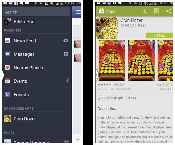 Игра Coin Dozer, приносящая мобильный трафик от Facebook, оплачиваемый по схеме CPI