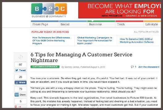 Повторная публикация той же статьи на сайте Business2Community с обширной читательской аудиторией