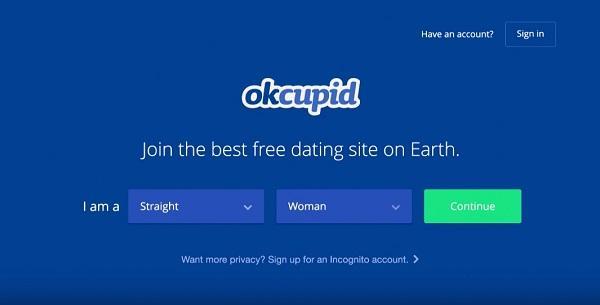 Главная страница сайта знакомств Okcupid
