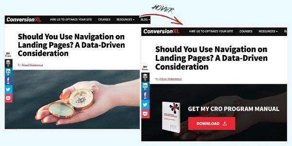 Сайт компании ConversionXL: призыв к действию появляется при наведении курсора на главное изображение к посту блога.