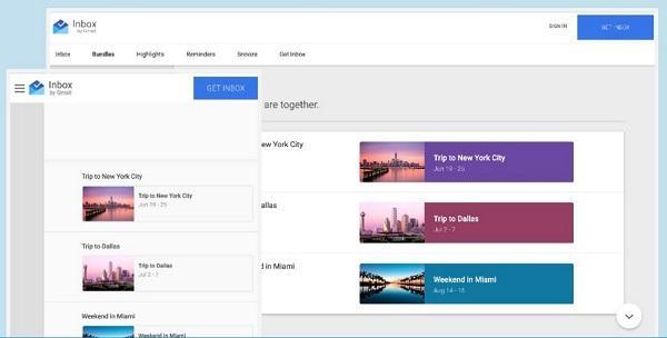 Почтовый сервис Inbox от компании Google: пример материального дизайна