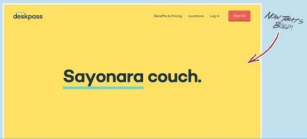 Сайт компании Deskpass: пример использования яркого цвета в дизайне