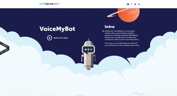 VoiceMyBot: пример лендинга с длинной прокруткой